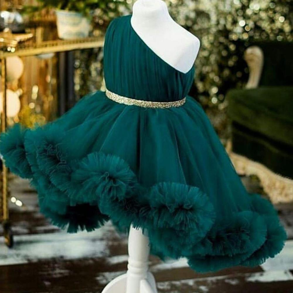 فساتين مخصصة للفتيات الصغيرات ، فستان أخضر داكن لحفلات أعياد الميلاد ، ملابس الأميرات الصغيرة ، مقاس 1-14 سنة