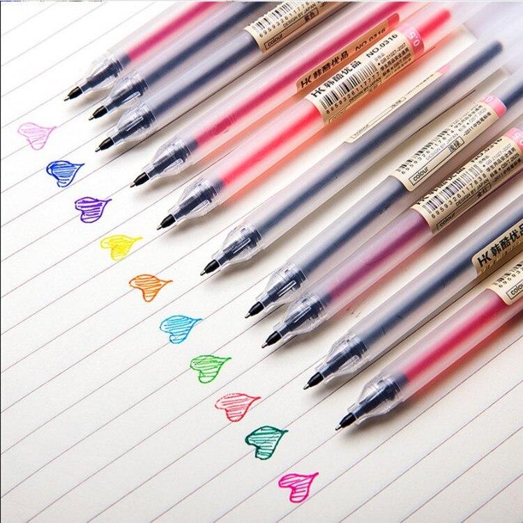 Kawaii творческая цветная гелевая ручка 0,5 мм письменные принадлежности модные стильные школьные и офисные принадлежности 12 шт./лот
