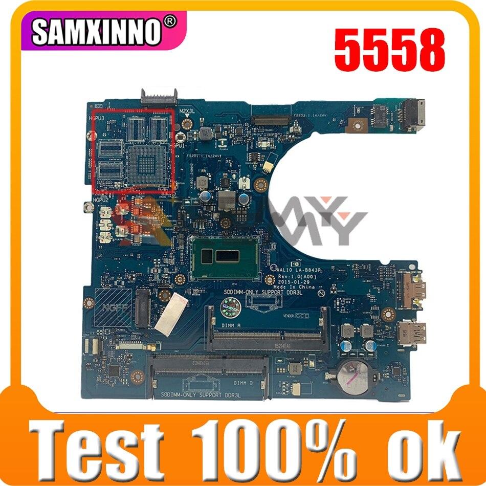 الأصلي اللوحة الأم لأجهزة الكمبيوتر المحمول ديل انسبايرون 5558 HDMI اللوحة الرئيسية CN-0G0NCN 0G0NCN LA-B843P SR1EF i5-4210U DDR3L