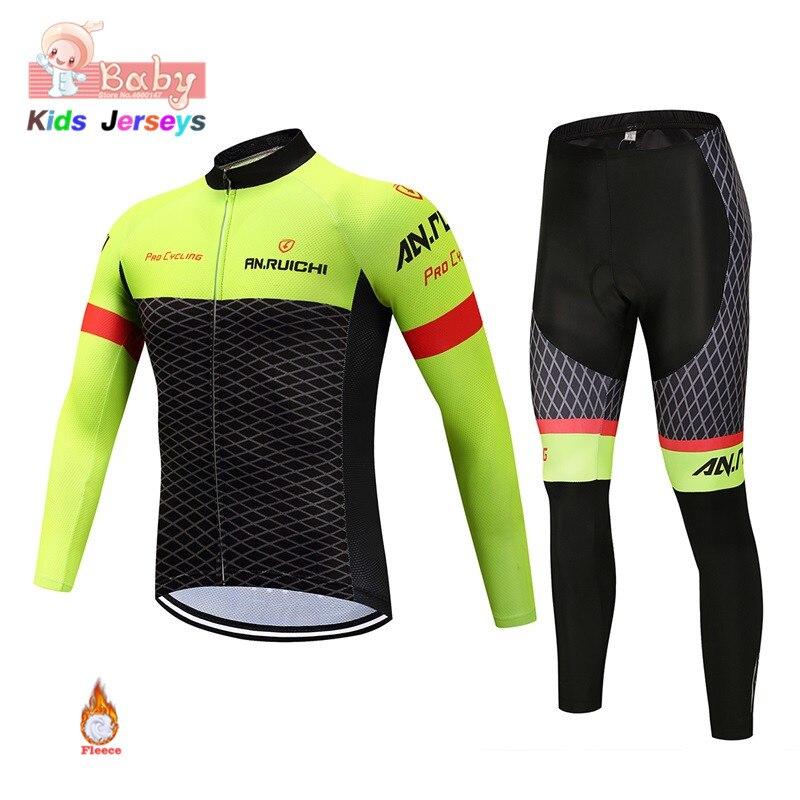 2019 Winter Fleece Kids Mtb zestaw rowerowy chłopcy i dziewczęta Trekking z długim rękawem zestaw koszulek rowerowych Unisex Ropa Ciclismo Bike Uniform