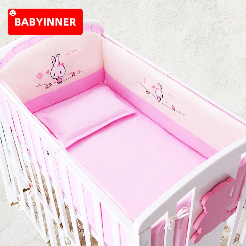 Babyinner Baby Bed Bumper 5Pcs/Set Cotton Crib Fence Cartoon Newborn Cot Protect Washable Anti-collision Bedding Room Decoration