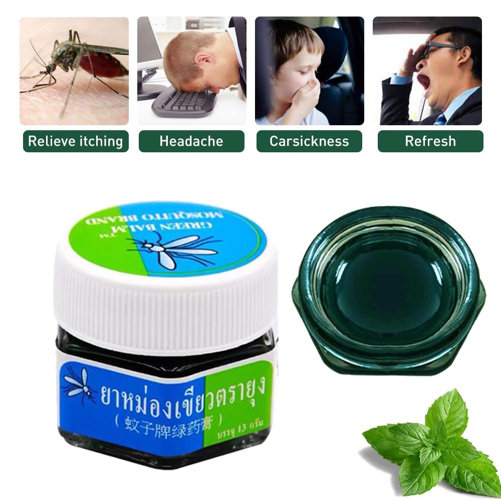 100% Original Tailandia de ungüento verde analgésico pomada para el alivio del dolor muscular pomada Anti Mosquito aliviar picazón Dizzines