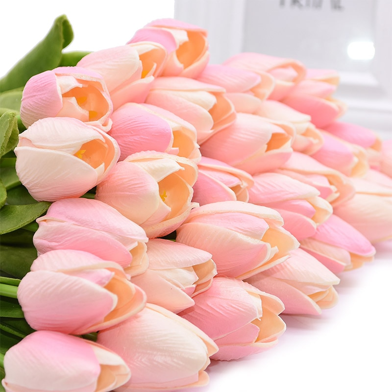 5/10/20/30pcs Artificial Flowers Real Touch PU Tulips Fake Flower Bouquet For Wedding Party Decor Supplies Home Garden Ornaments