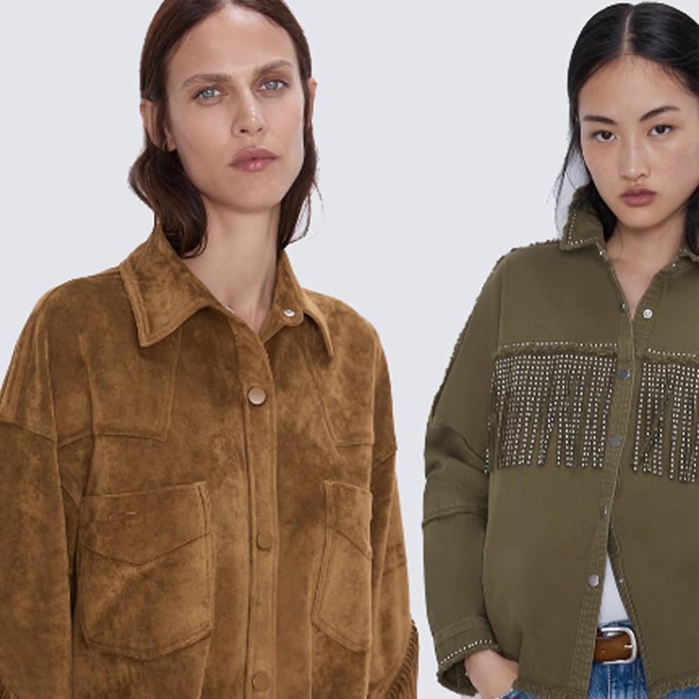 2019 ZA Women Army Green Military Tassel Rivet Oversized Denim Coat  Jeans Jacket Long Sleeve Turn Down Collar Fringed Outerwear