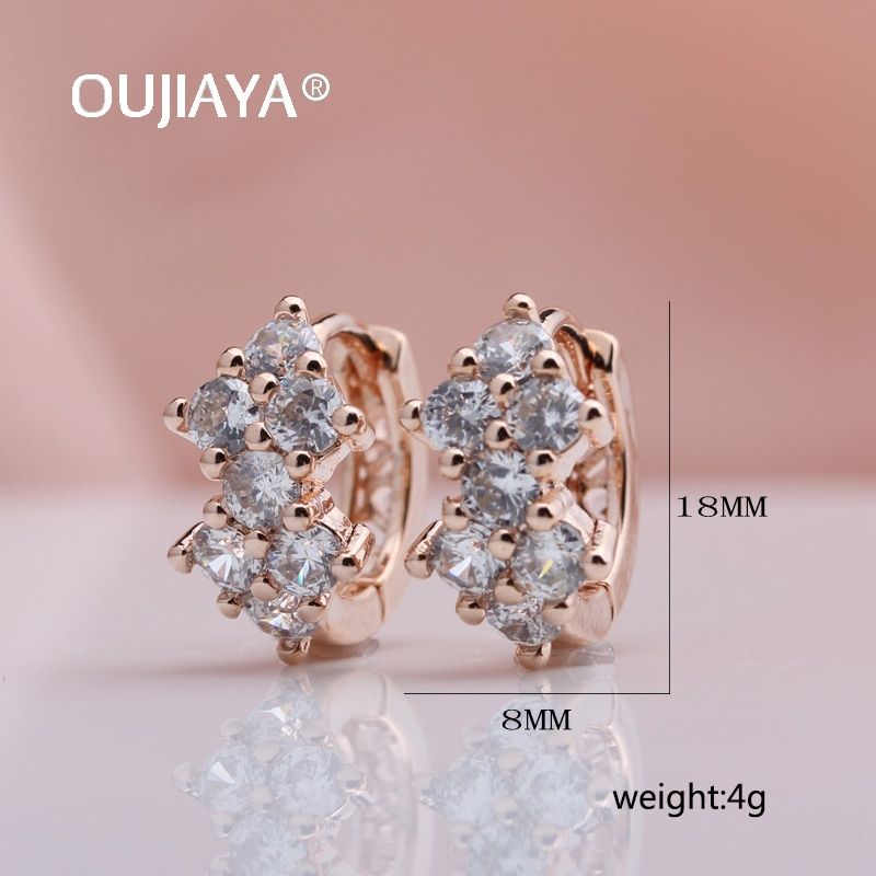 OUJIAYA New Drop Earrings For Women 585 Rose Gold White Natural Cubic Zircon Vintage Drop Earrings  Jewelry Accessories A77