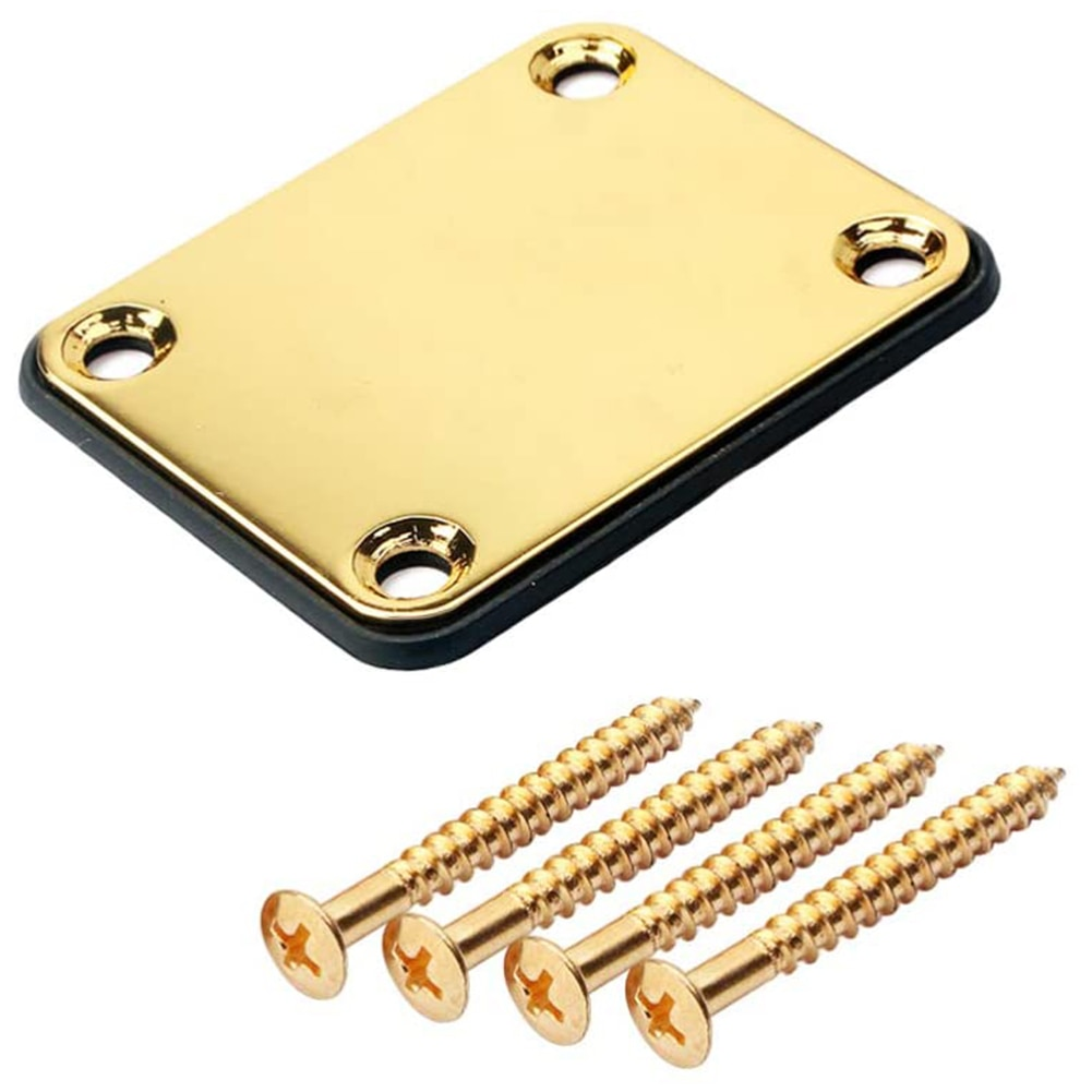 Chrome Electric Guitar ST Electric Guitar Neck Joint Board With Screws Parts For Guitar Bass Black Guitar Accessories Neck Plate 22 frets maple guitar neck rosewood fingerboard neck for fender tele replacement guitar accessories parts right handed players