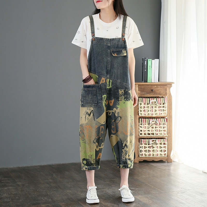 Denim Printed Overalls Women 2021 New Summer Casual Suspenders Harem Pants Plus Size Cropped Pants Jumpsuits and Bodysuits