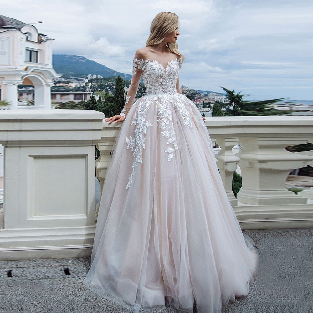 Jiayigong Champagne Wedding Dress Sexy Long Sleeves Scoop Neck A Line Tulle Bridal Gowns Appliques Sweep Train Marriage Dresses недорого