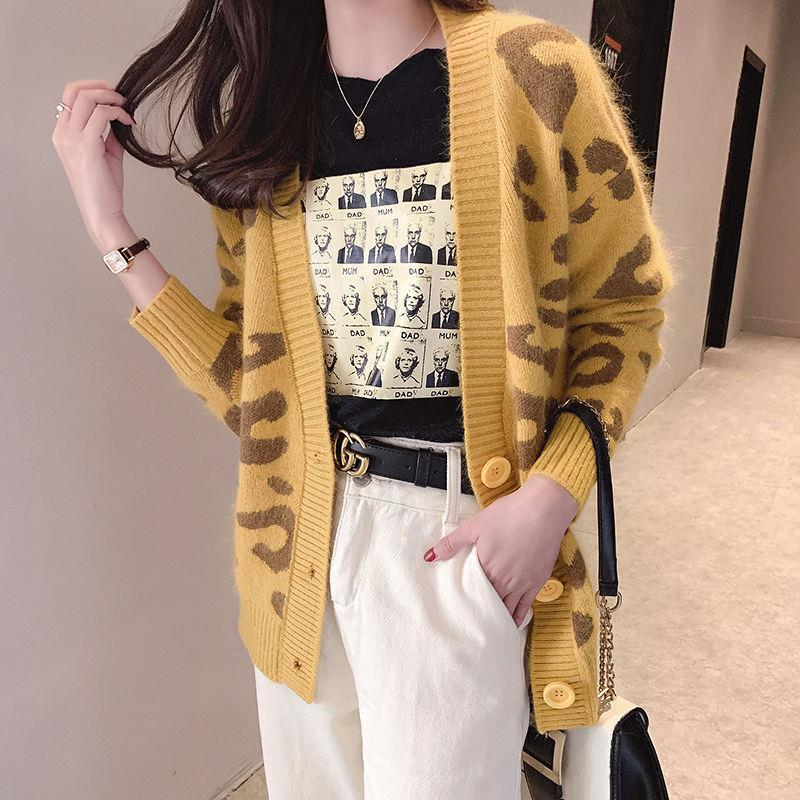 Spring 2020 new lazy style knitwear women's cardigan loose leopard sweater coat with top fashion enlarge