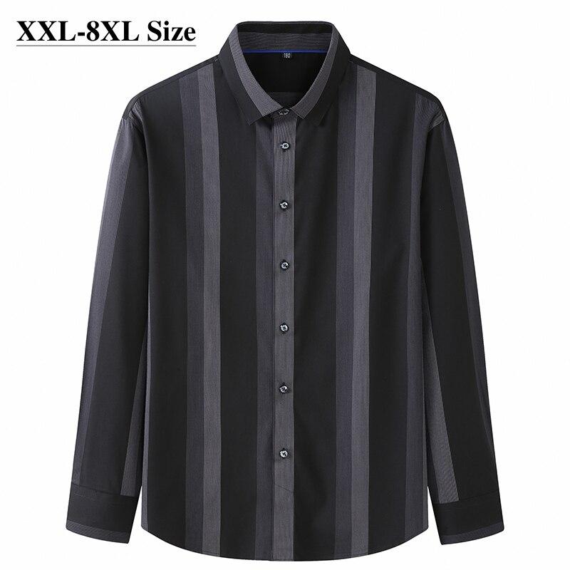 8XL 7XL 6XL المتضخم الرجال قميص طويل الأكمام الكلاسيكية أسود مخطط فضفاض عادية تمتد قميص عالية الجودة ماركة الذكور الملابس