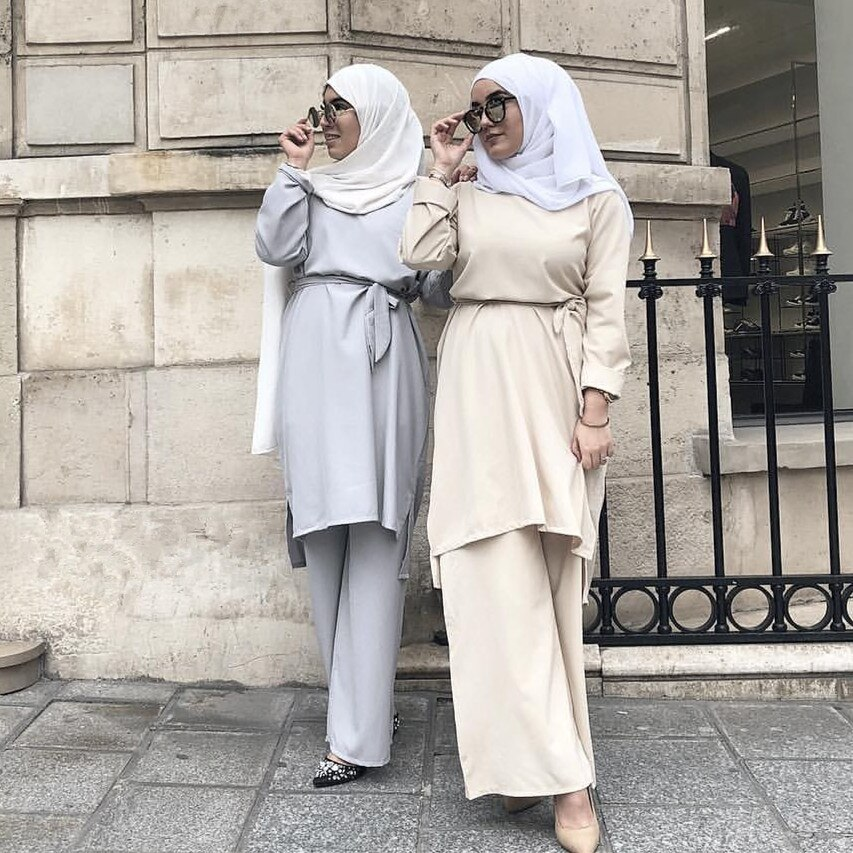 Abaya Set Turquía Dubai musulmán vestido Hijab Tops pantalones Abayas para damas Jilbab caftán marroquí caftán ropa islámica turca
