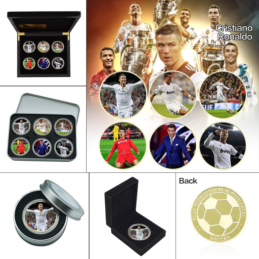 Позолоченные памятные монеты в виде футбольной звезды, коллекционные монеты с держателем для футбола, спортивные сувенирные подарки для ма...