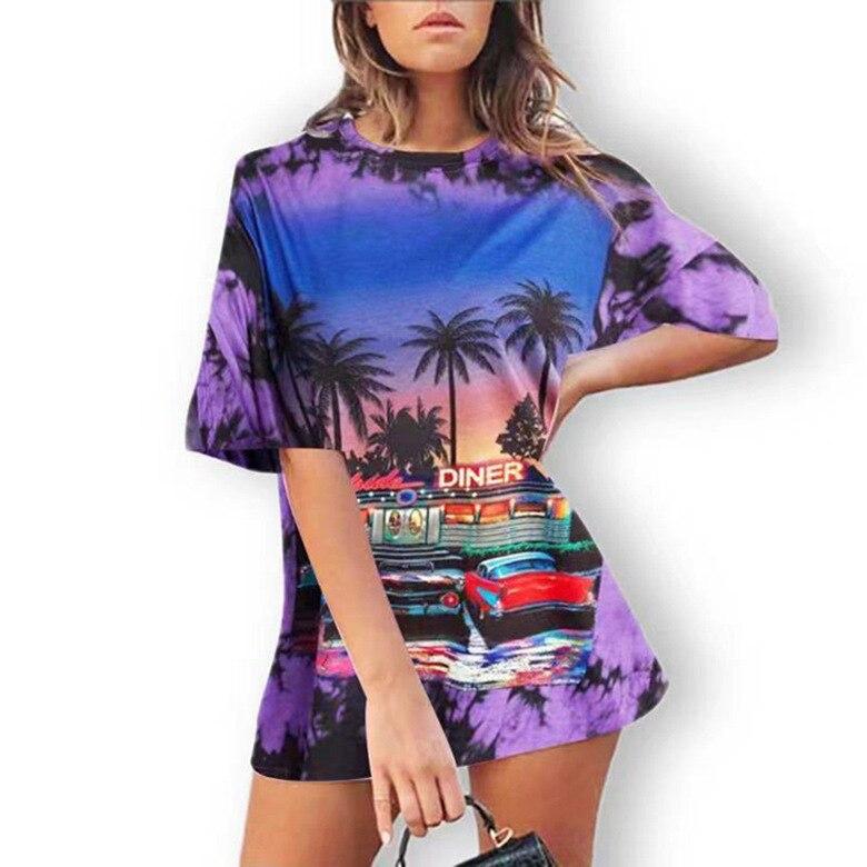 Женская футболка свободного кроя, приталенная Яркая футболка средней длины с принтом в виде красителя, женская футболка большого размера с ...