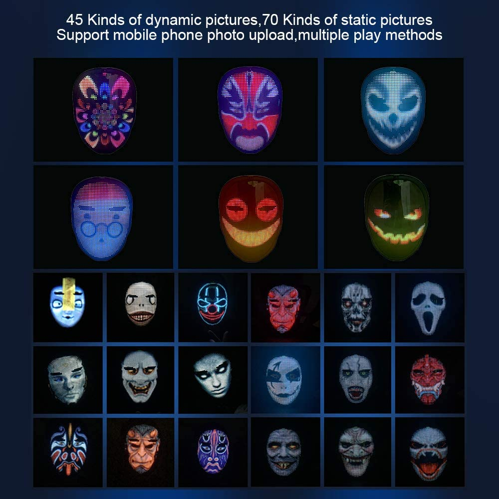 Bluetooth-Compatible Led RGB Party Mask DIY Editing Animation Text Concert Mask, Built-in Battery Led Display or Rechargeable