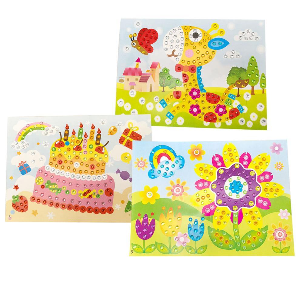 Besegad 3 Set Children Kid Drawing DIY Gif Rhinestone Painting Sticker Mosaic Puzzle Toys Art Craft Educational Toy Random Style