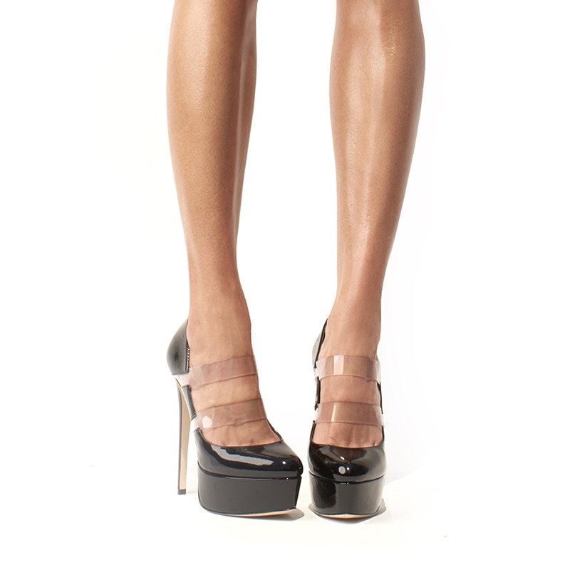 2021 Summer Women's Shoes Black Pvc Patent Leather Platform Pumps Super High Heels Thin Heel Party Single Shoes Sandalias Mujer