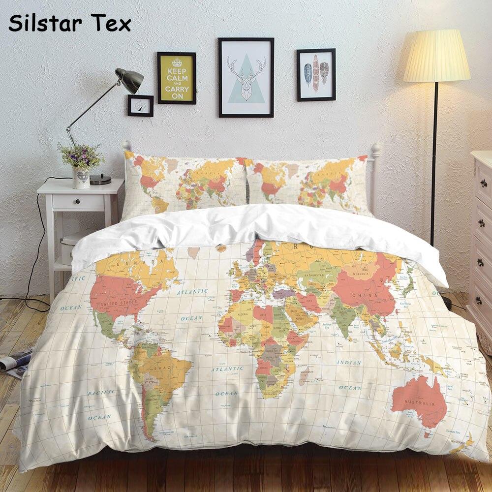 Silstar Tex mapa clásico ropa de cama de lino puro PIillow Set Pugs juegos de cama de estilo europeo de los bebés Duvet Cover Linings azul edredón