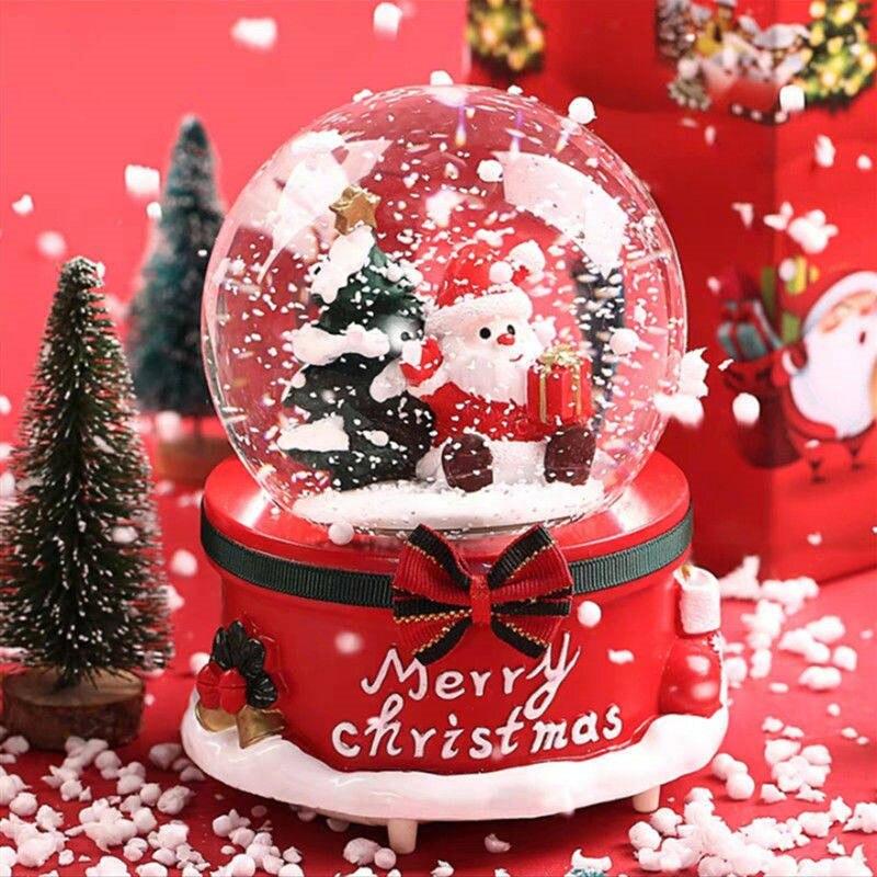 2019 hot sale led light 3d music crystal ball glass snowflake globe creative home decor birthday valentine s day gift for girl Christmas Snow Globe Music Box Light Snowflakes Santa Claus Crystal Ball for Thanksgiving Birthday New Year Gift Led Light Lamp