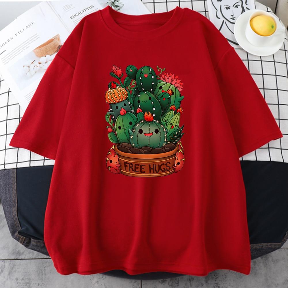 Cute Plant Cactus Free Hugs Print Women's T shirts Fashion Style Clothing Crewneck Soft T shirt Oversize Loose Women's T shirt