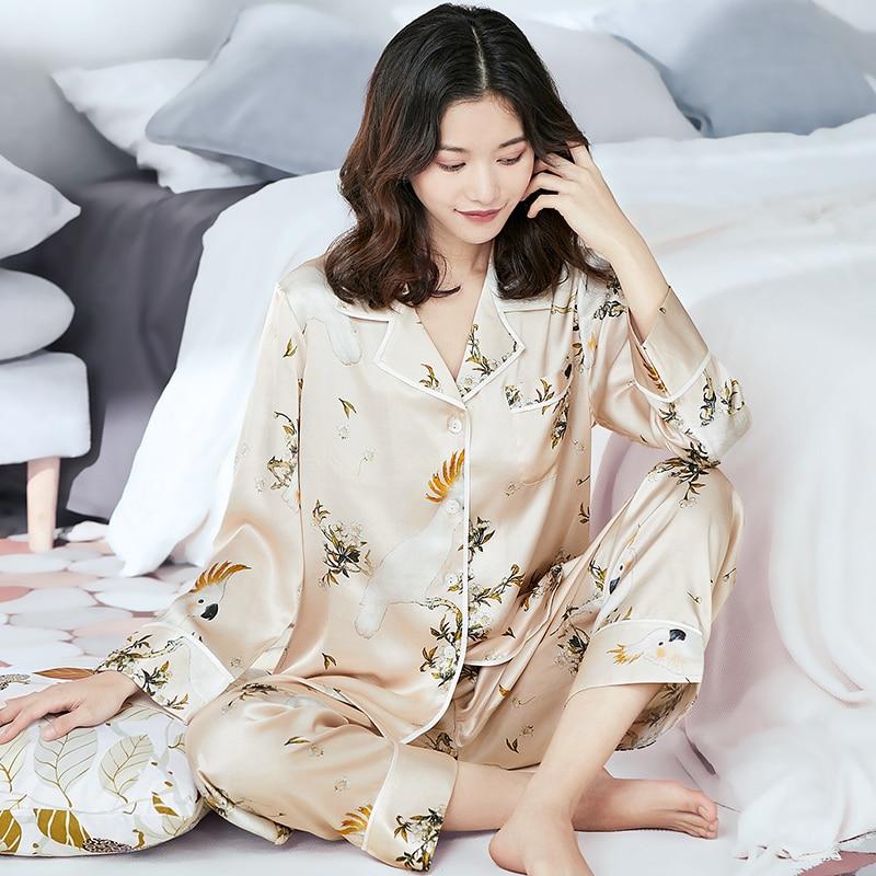 2021 الربيع 100% الحرير الحقيقي النساء Pajams مجموعة نمط المطبوعة الفاخرة 2 قطعة البيجامة السيدات صالة المنزل الملابس ملابس خاصة Homewear