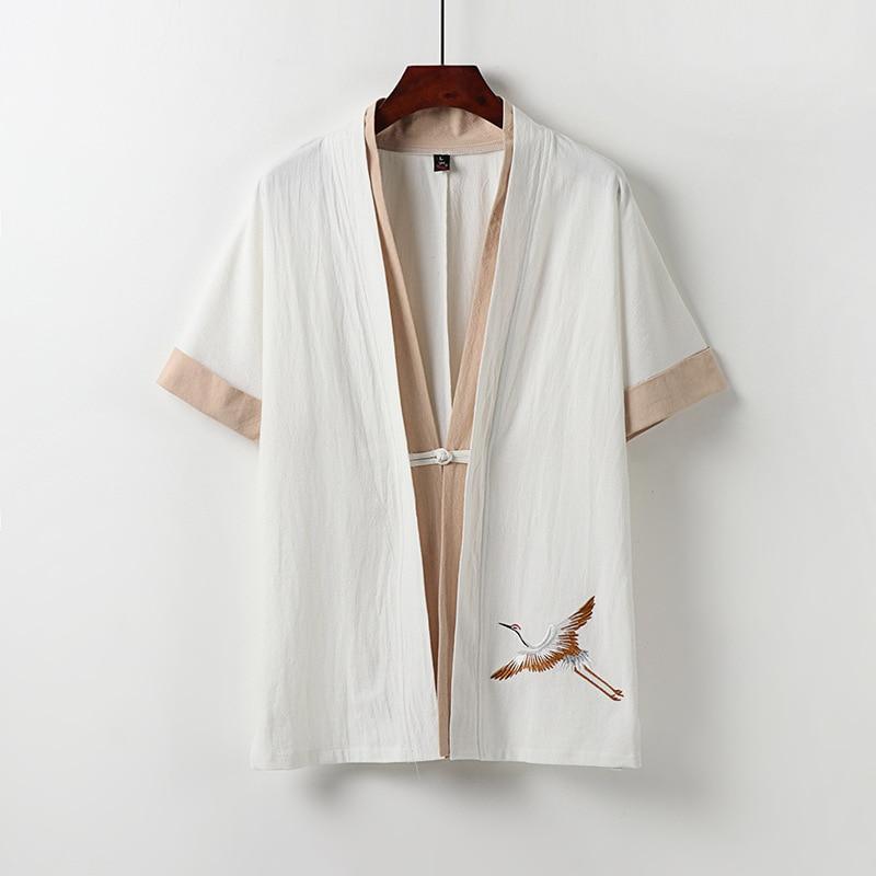 Summer men japanese style shirts home wear Short Sleeve linen cotton embroidery crane Comfortable plus size 8XL 9XL 68 70 shirtS