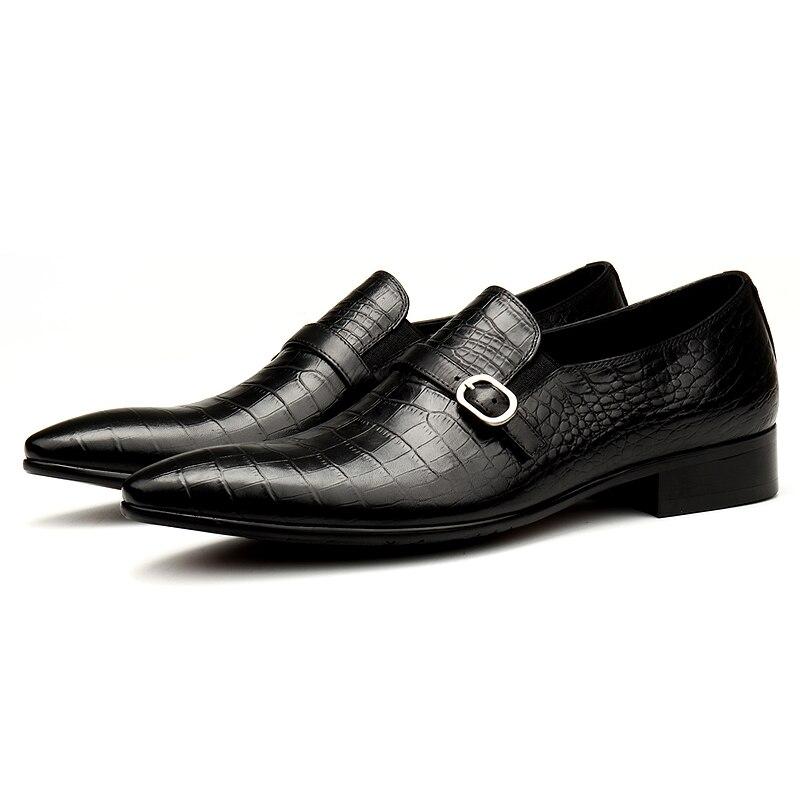 PJCMG الأزياء أسود/أحمر الرجال اللباس أحذية عالية الجودة تنفس الانزلاق على نمط تمساح جلد طبيعي أكسفورد الأحذية