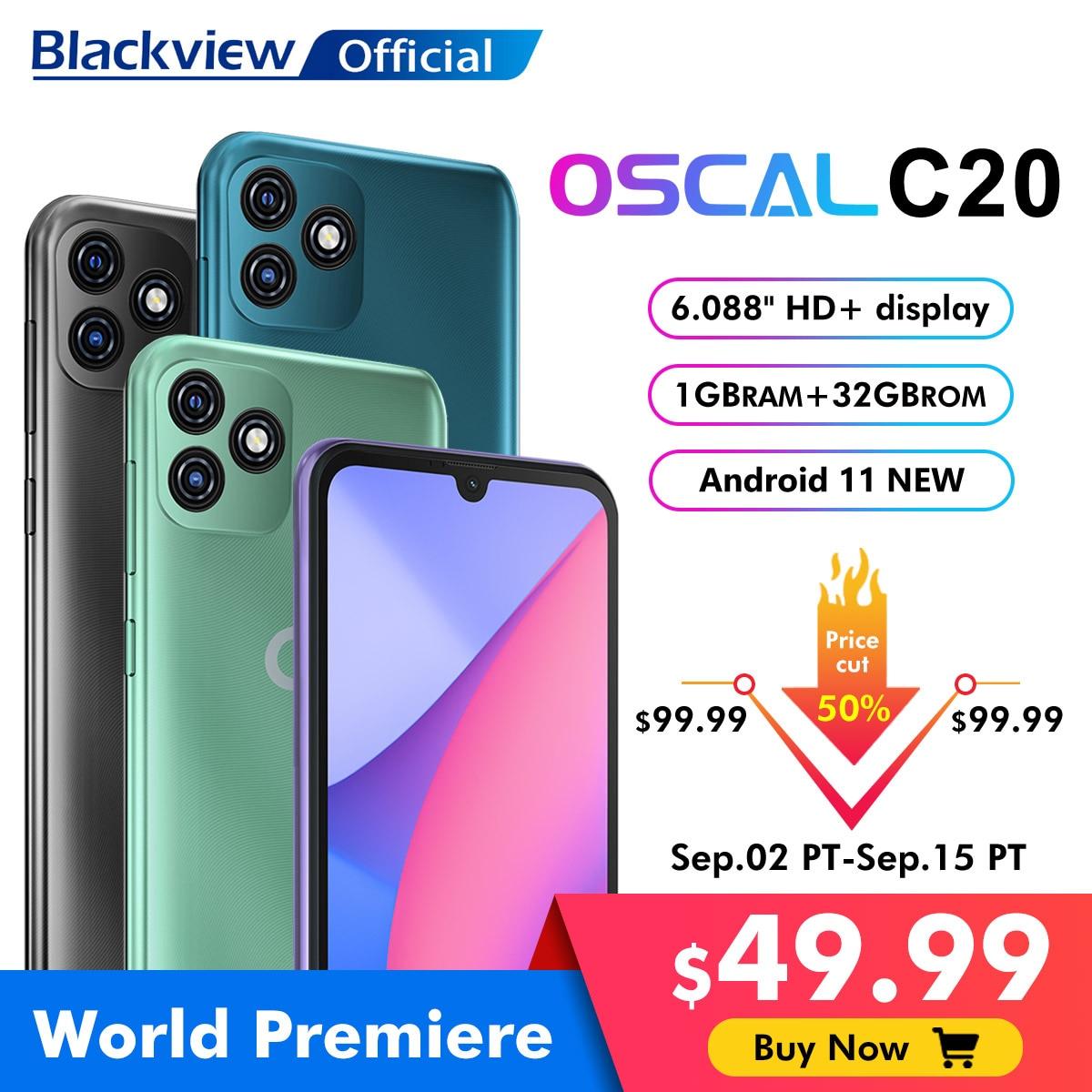 "BLACKVIEW OSCAL C20 Smartphone 1GB+32GB 6.088"" Cellphone 3380mAh Dual Camera Android 11 3G Mobile Phone Face Unlock Celular"
