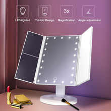 Makeup Mirror With Lights 1X 2X 3X Magnification Lighted Vanity Mirror Touch Control Trifold Dual Power Beauty Mirrors Portable