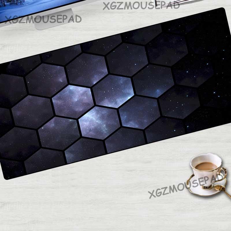 XGZ universo cielo estrellado gran alfombrilla de ratón de precisión Borde de bloqueo diamante malla estera tela antideslizante diseño Multi -Tamaño de encargo