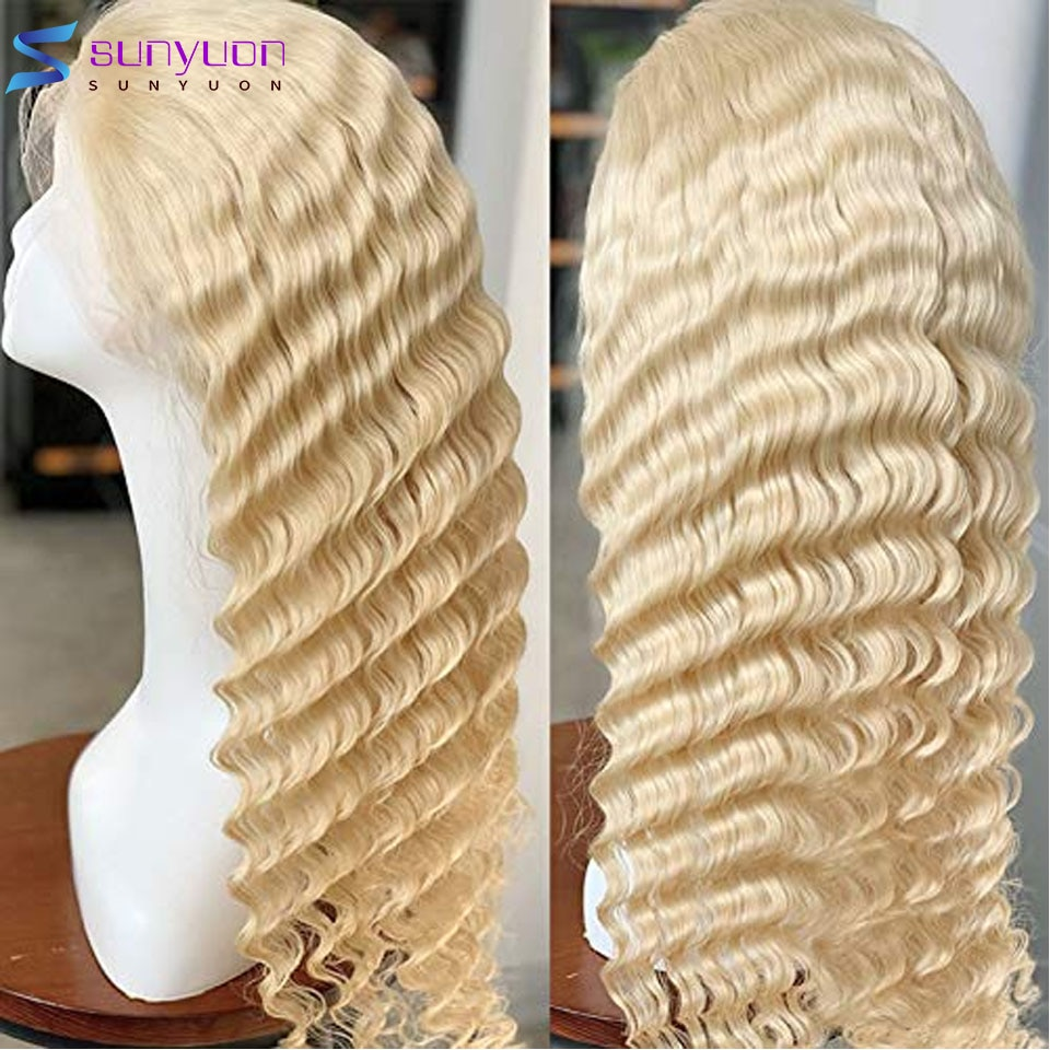 13X1 T Part Deep Wave Frontal Wig 30 Inch Pre Plucked Lace Front Human Hair Wigs For Women Brazilian Remy Deep Curly Frontal Wig