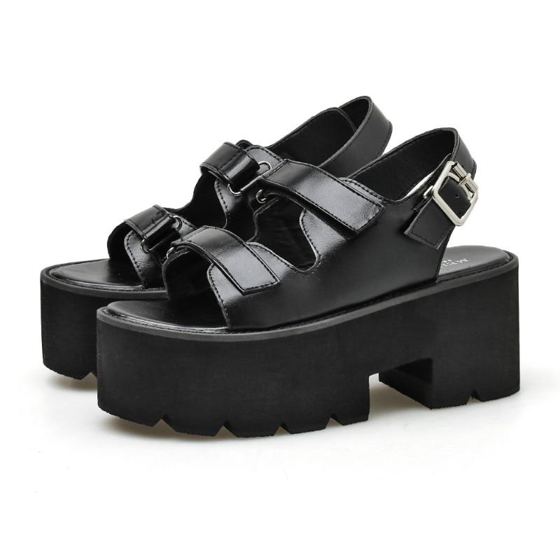 Boussac Buckle Strap Slingback Platform Sandals Women Open Toe One Strap Summer Sandals Women Black Punk Goth Shoes Women C998