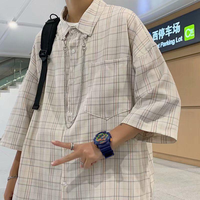 Летняя рубашка в клетку, Мужская корейская модная повседневная рубашка, мужская Свободная рубашка с коротким рукавом, Мужская Ретро Улична...