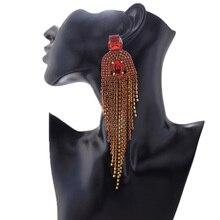 Magniloquent 14cm long gland balancent boucle doreille pour défilé de mode passerelle bijoux cristal femmes poste boucles doreilles accessoires de mariage