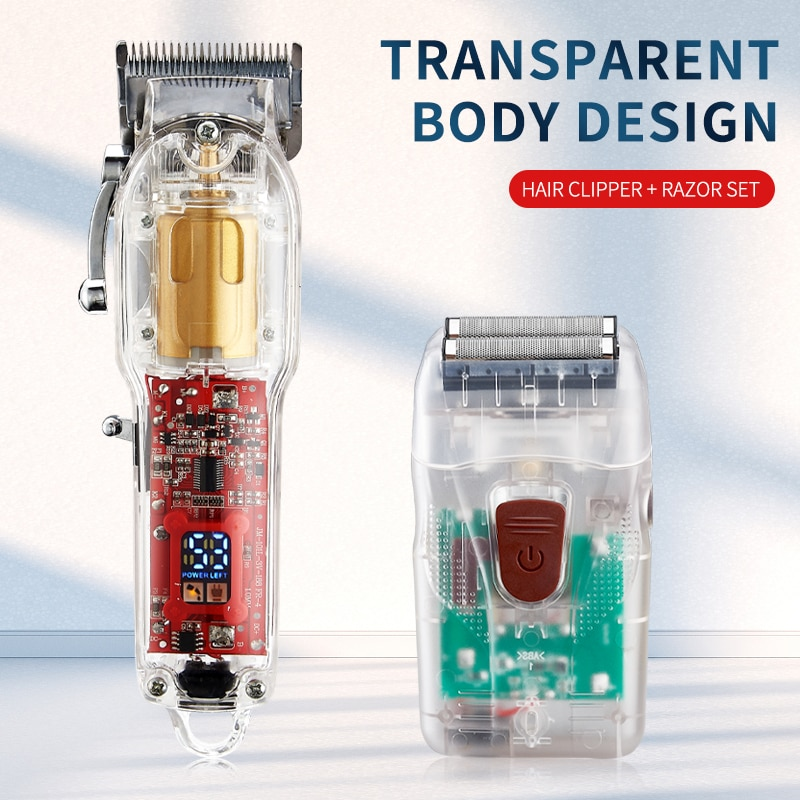2021 New Model Rechargeable Hair Cutting Machine Hair Clippers Trimmer Transparent Cover White Or Red Base 6500rpm enlarge