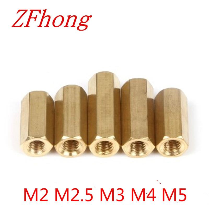 5-50 Uds M2 M2.5 m3 m4 m5 * L hexagonal latón separador hembra a rosca hembra de latón espaciador longitud 3mm a 50mm