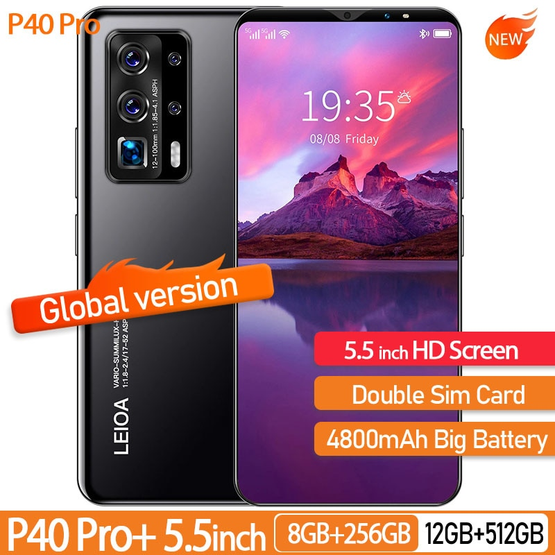 Global Version Cell Phone P40 Pro 5.5 InchAndroid Smart Phones 12GB+512GB Android Telephone 4800mAh Battery 4G Mobile Phone enlarge