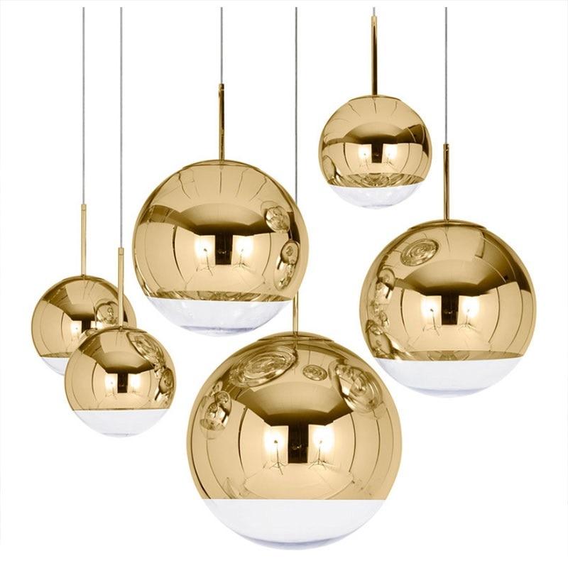 LukLoy современный зеркальный стеклянный шар подвесной светильник Медный Серебряный Золотой глобус Лофт Подвесная лампа современная лампа к...