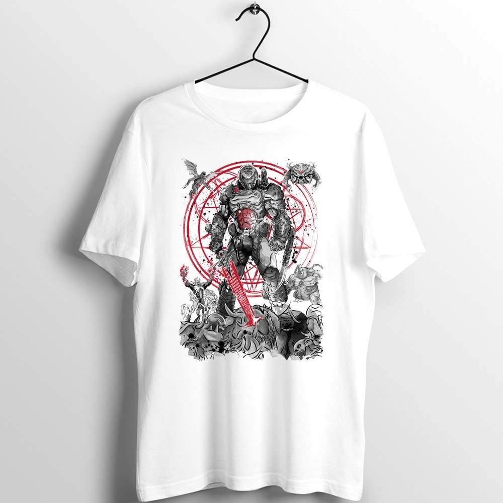 Camiseta Unix hombres mujeres Doom eterno Hell impreso camiseta personalizada básica suelta ocio blanco manga corta harajuku cool clothing