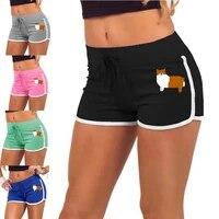 summer shorts women high waist elasticated fitness leggings push up gym training gym tights pocket flowers printing short