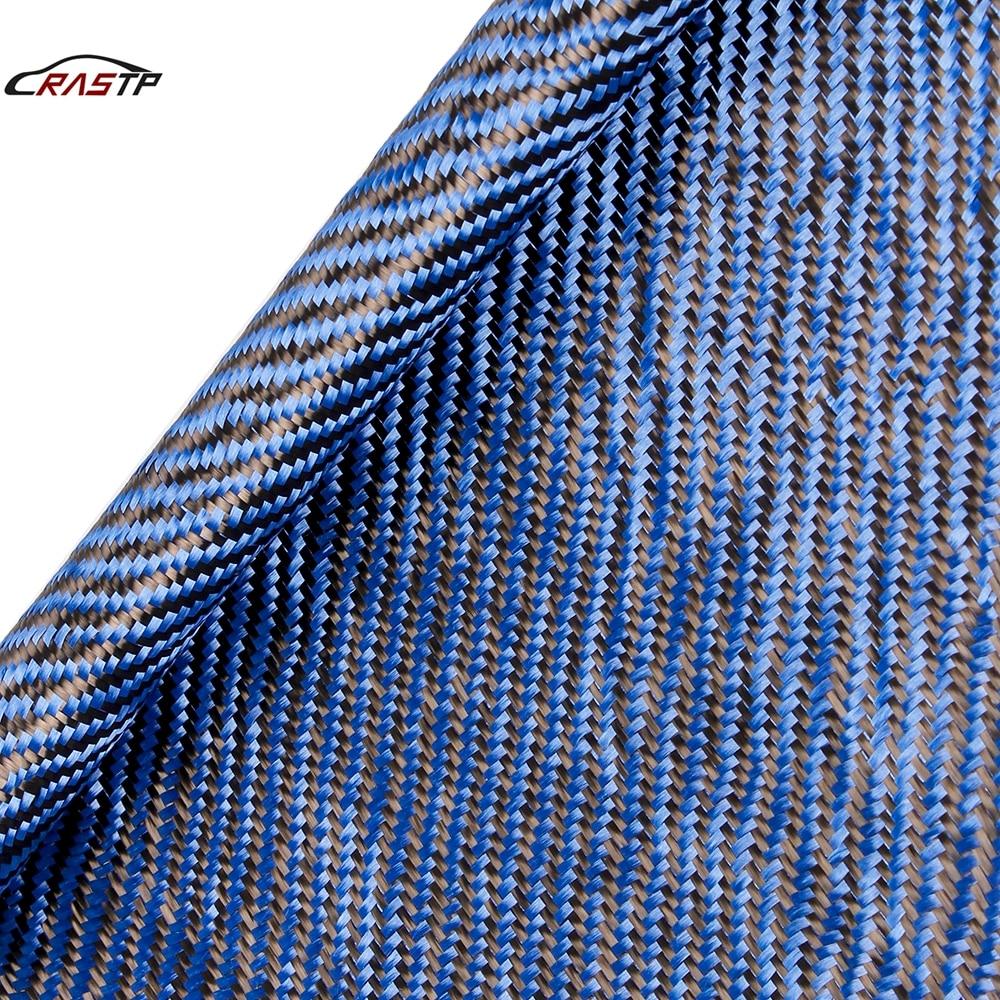 High quanlity Real Carbon Fiber Cloth Blue 3K 220gsm Twill Plain 30x150cm Fabric Honeycomb Hybrid Carbon Kevlar Fabric RS-BAG057