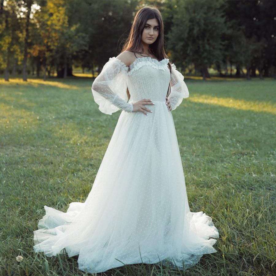 Vestido de tul con hombros descubiertos mangas largas nupciales elegante vestido de...