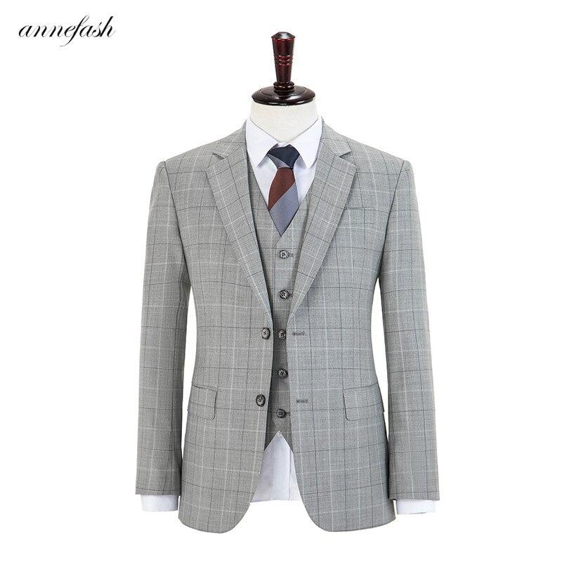 الصوف الصوف ضوء الأزرق overcheck منقوشة تويد الرجال البدلة مخصص الرجعية الرجال الزفاف السترة دعوى 3 قطعة