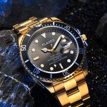PLADEN Gold Luminous Watch Men 22mm Watchband Original Waterproof Sports Modern European Clock Anti-