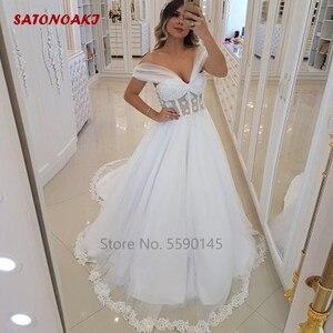 Elegant Tulle Wedding Dress 2020 Off the Shoulder Ball Gown Lace Applique Backless Sweep Train Bridal Vestido De Novia Undefined