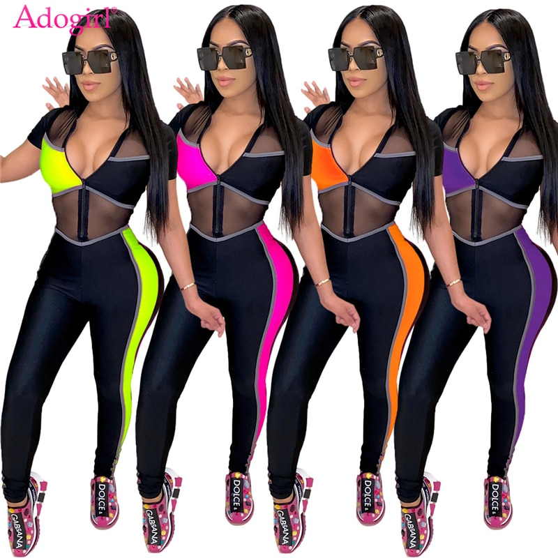 zigzag sheer mesh workout tights Adogirl Color Patchwork Sheer Mesh Women Sexy Jumpsuit Zipper V Neck Short Sleeve Tights Romper Night Club Overalls Outfits