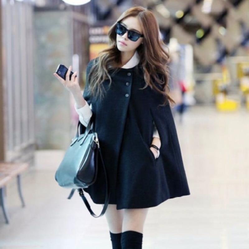 2020 Autumn And Winter Women's Korean Version Of The Large Size Medium Long Woolen Cape Coat Black Loose Temperament Shawl Coat