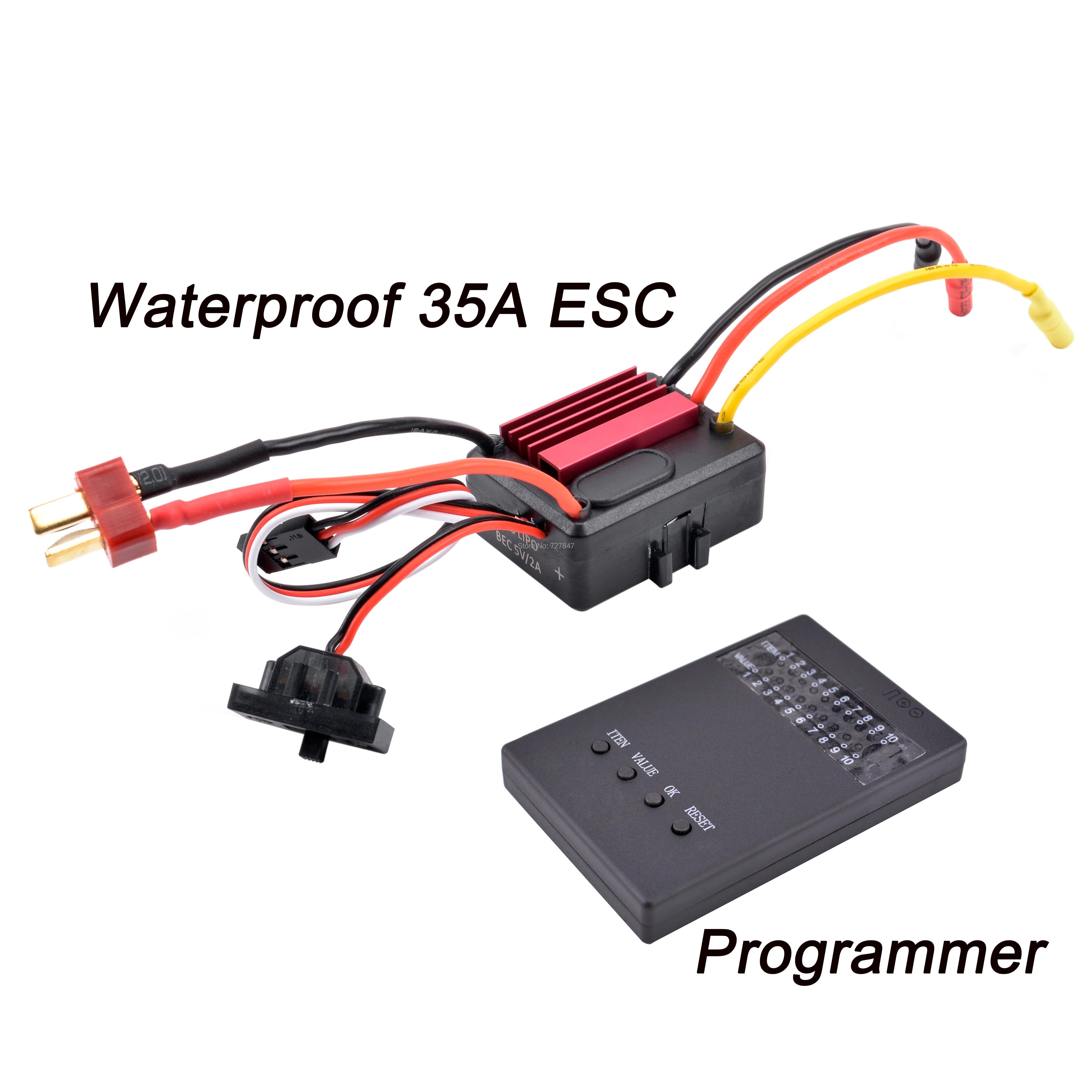 Impermeable 35A 2-3s CES eléctrico CONTROLADOR DE VELOCIDAD DE 5 V/2A BEC de RC 1/14 1/16 1/18 RC coche 2838, 2845 Motor sin escobillas