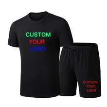 Summer Mens Sets Custom Your Logo Short Sleeve Print Tracksuit Men Sportswear Casual 2 Pieces Set T-Shirt+Shorts Sport Suits