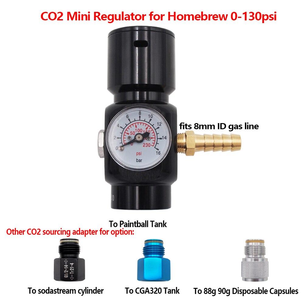 Sodastream CO2 мини газовое зарядное устройство 0-130psi, пейнтбол, CGA320 адаптеры для Домашнего Пива Cornelius/Corny Keg,8 мм, 6 мм OD шланг