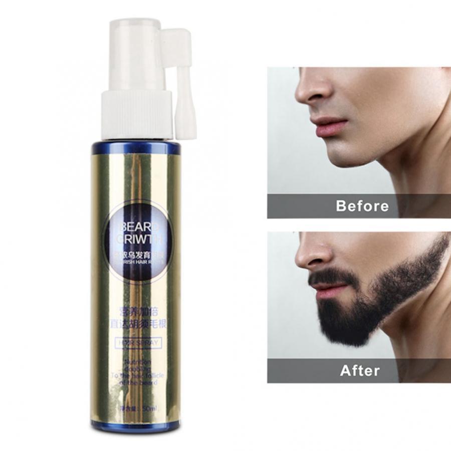 Aceite líquido natural para el crecimiento del bigote y la barba de 50 ml, aceite esencial para la reparación del aerosol, cuidado del cabello acial para hombres